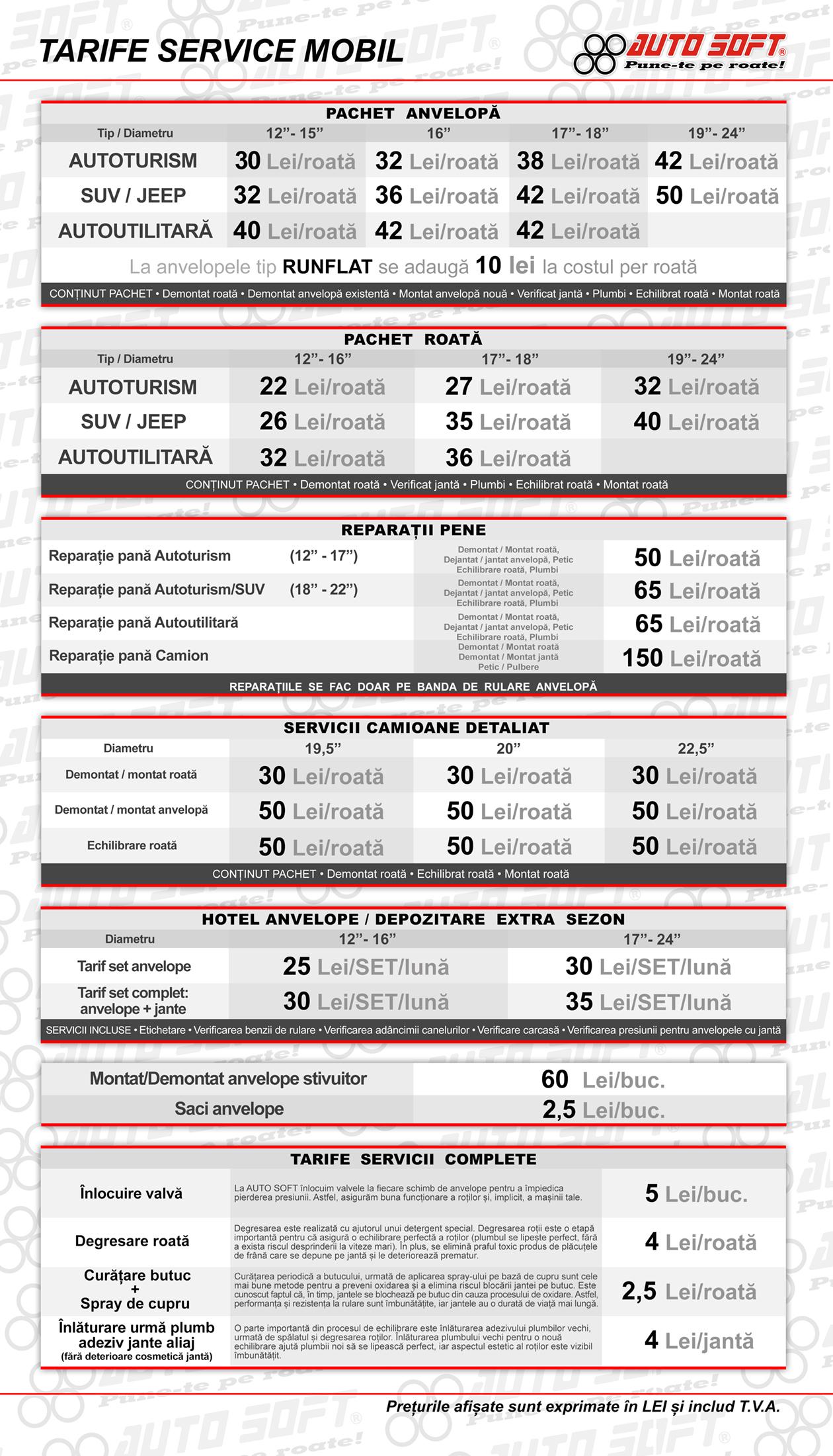 Lista preturi AUTOSOFT Service Mobil